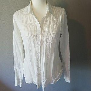Maurice's semi sheer white blouse med